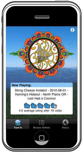 String Cheese Radio App Home